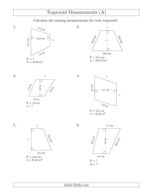 The Calculating Various Measurements of Trapezoids (A) Math Worksheet