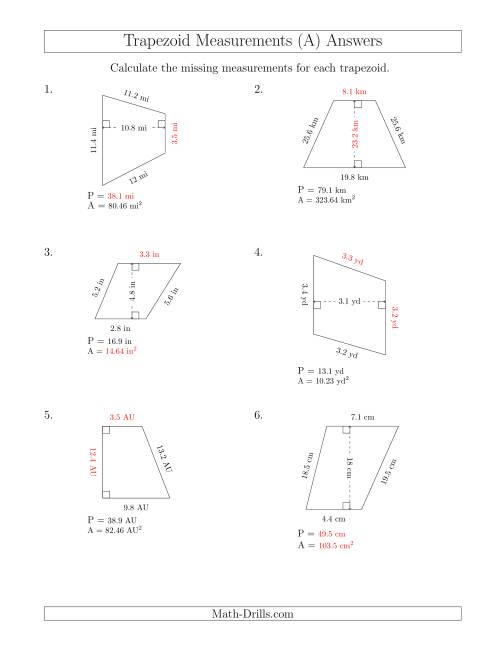 The Calculating Various Measurements of Trapezoids (A) Math Worksheet Page 2