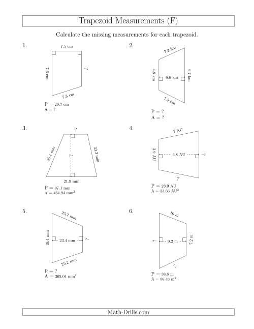 The Calculating Various Measurements of Trapezoids (F) Math Worksheet