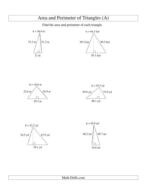 The Area and Perimeter of Triangles (up to 1 decimal place; range 10-99) (A) Math Worksheet