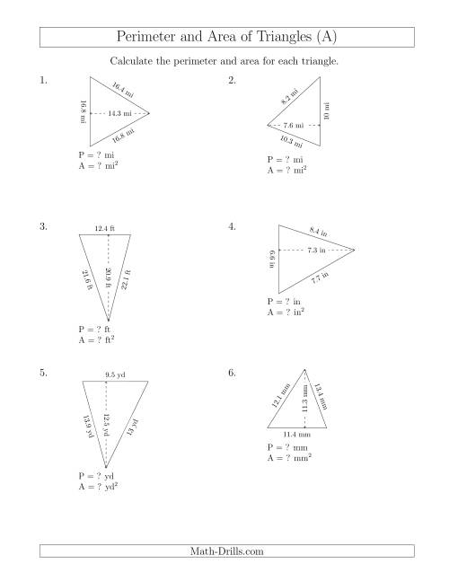 The Calculating the Perimeter and Area of Acute Triangles (Rotated Triangles) (A) Math Worksheet