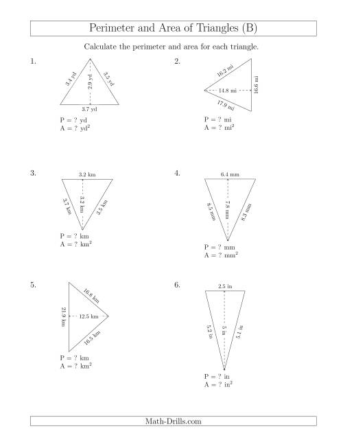 Of Triangle Worksheet In Addition Math Area Of Triangles Worksheet ...