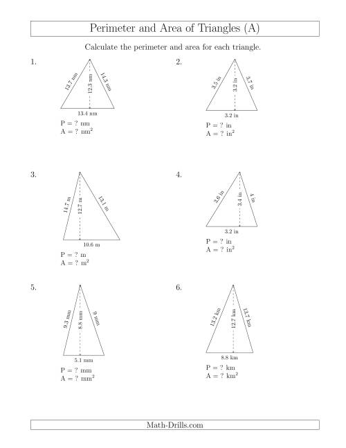 Calculating The Perimeter And Area Of Acute Triangles A