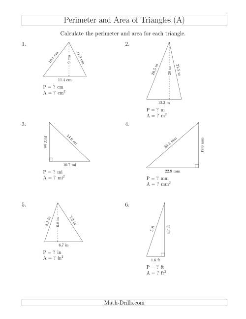 The Calculating the Perimeter and Area of Acute and Right Triangles (A) Math Worksheet