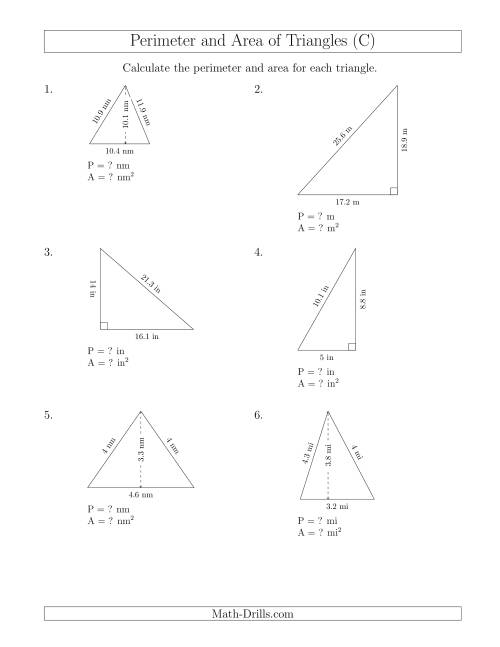 The Calculating the Perimeter and Area of Acute and Right Triangles (C) Math Worksheet