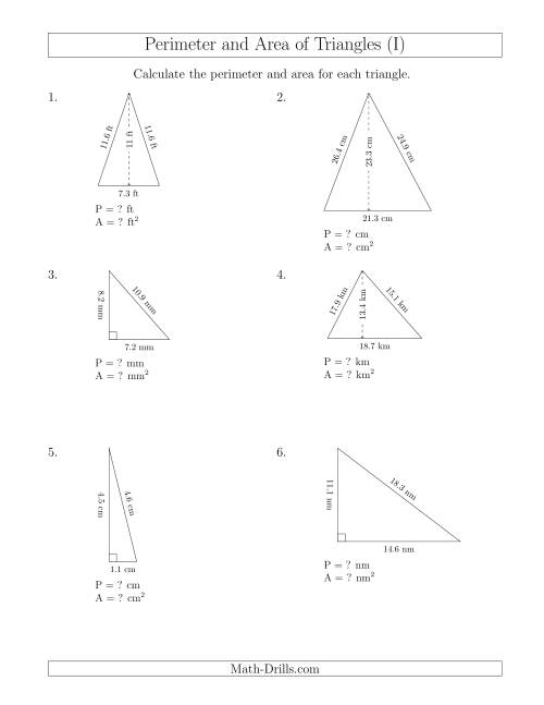 The Calculating the Perimeter and Area of Acute and Right Triangles (I) Math Worksheet