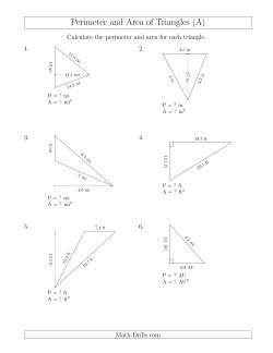 Calculating the Perimeter and Area of Triangles (Rotated Triangles)