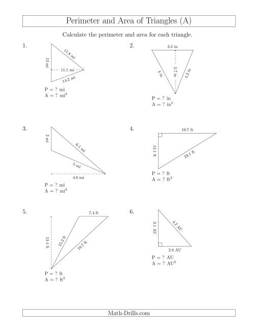 The Calculating the Perimeter and Area of Triangles (Rotated Triangles) (A) Math Worksheet