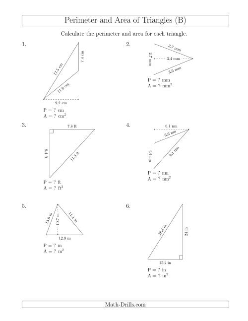 The Calculating the Perimeter and Area of Triangles (Rotated Triangles) (B) Math Worksheet