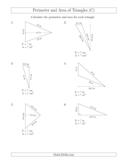 The Calculating the Perimeter and Area of Triangles (Rotated Triangles) (C) Math Worksheet