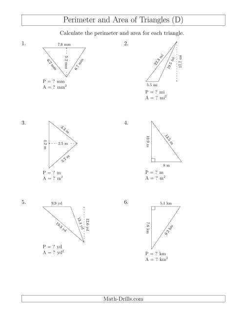 The Calculating the Perimeter and Area of Triangles (Rotated Triangles) (D) Math Worksheet
