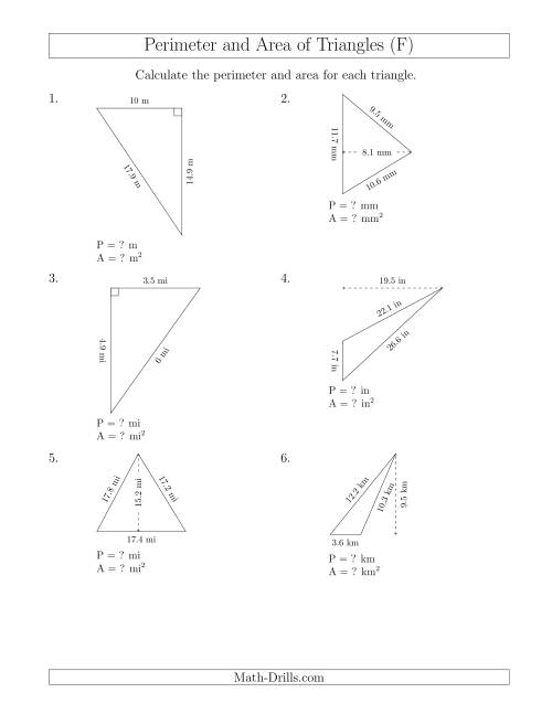 The Calculating the Perimeter and Area of Triangles (Rotated Triangles) (F) Math Worksheet