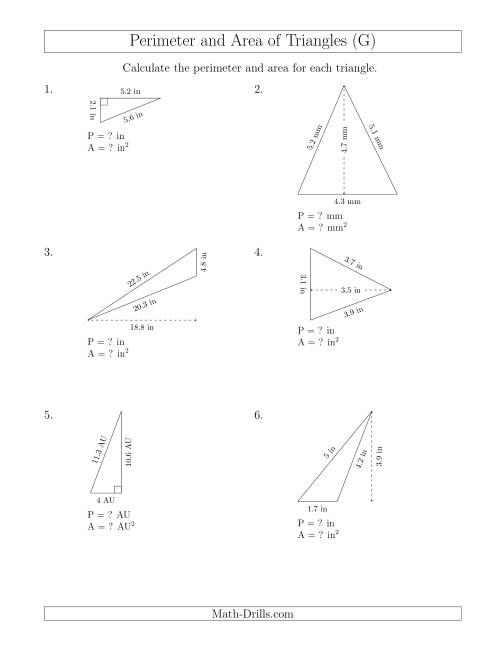 The Calculating the Perimeter and Area of Triangles (Rotated Triangles) (G) Math Worksheet