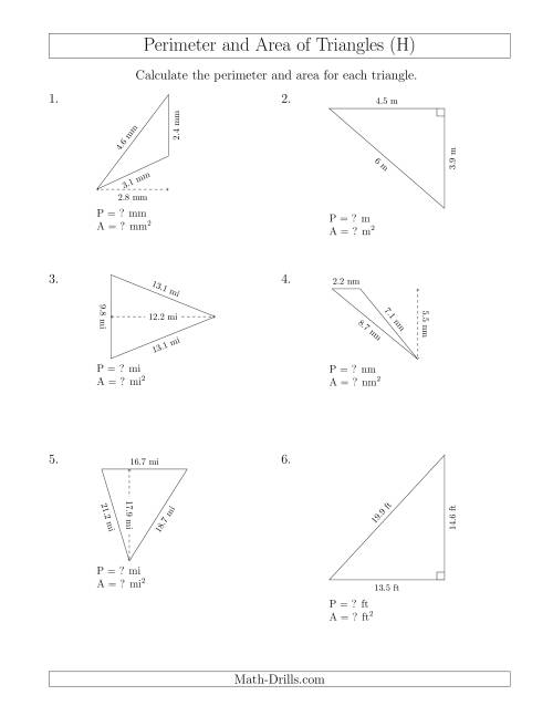Calculating The Perimeter And Area Of Triangles Rotated