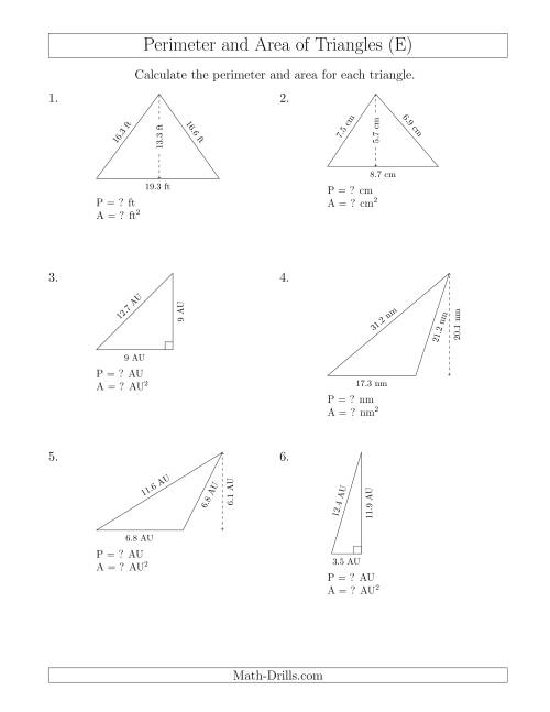 The Calculating the Perimeter and Area of Triangles (E) Math Worksheet