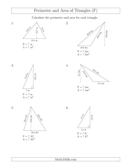 The Calculating the Perimeter and Area of Triangles (F) Math Worksheet