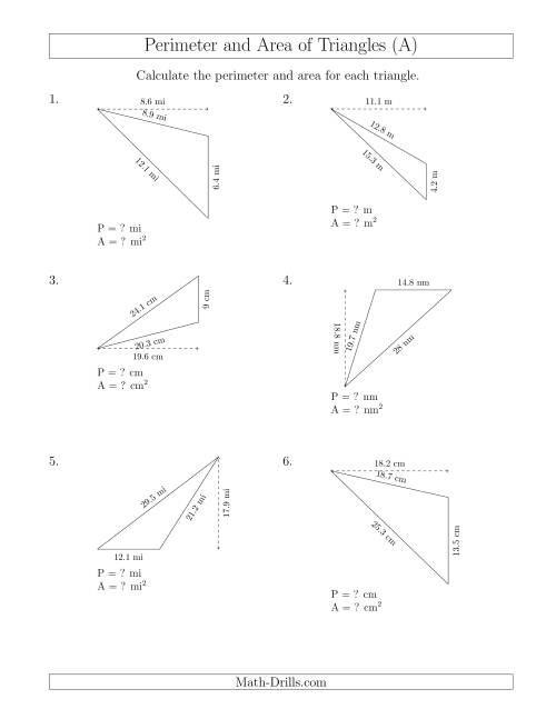 The Calculating the Perimeter and Area of Obtuse Triangles (Rotated Triangles) (A) Math Worksheet