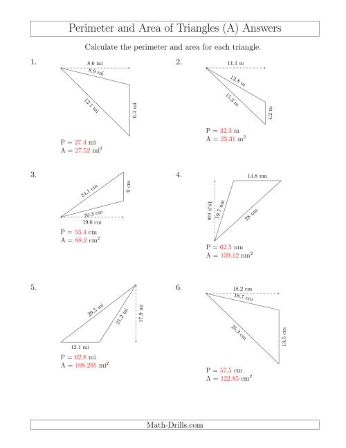 The Calculating the Perimeter and Area of Obtuse Triangles (Rotated Triangles) (A) Math Worksheet Page 2
