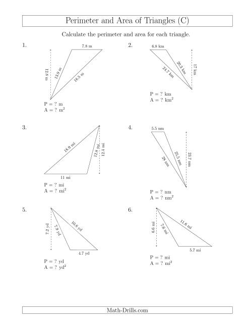 The Calculating the Perimeter and Area of Obtuse Triangles (Rotated Triangles) (C) Math Worksheet