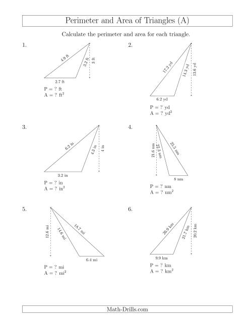 The Calculating the Perimeter and Area of Obtuse Triangles (A) Math Worksheet