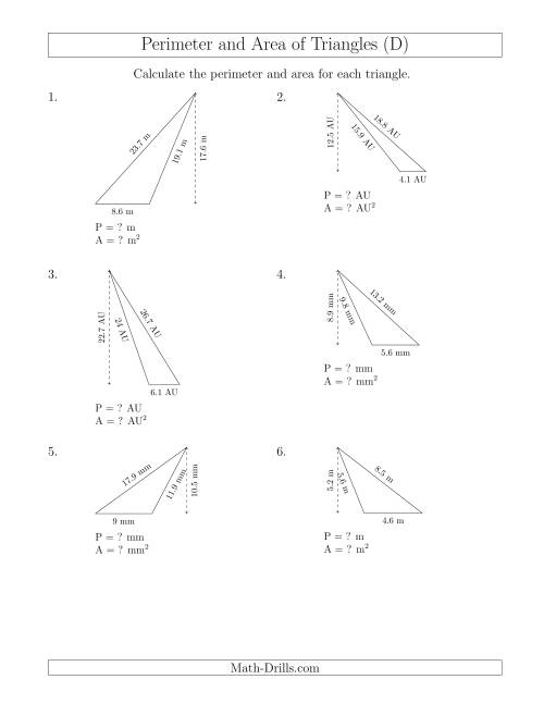 The Calculating the Perimeter and Area of Obtuse Triangles (D) Math Worksheet