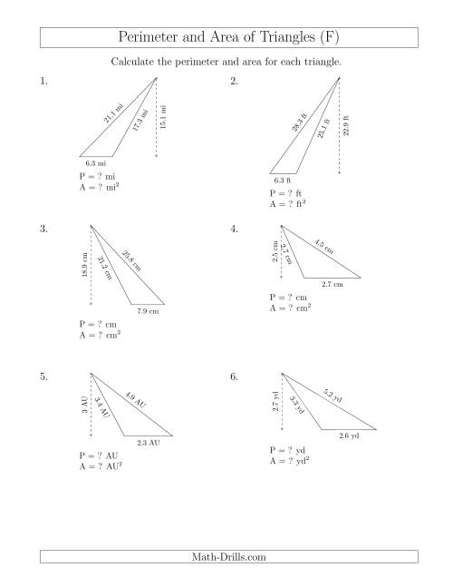 The Calculating the Perimeter and Area of Obtuse Triangles (F) Math Worksheet