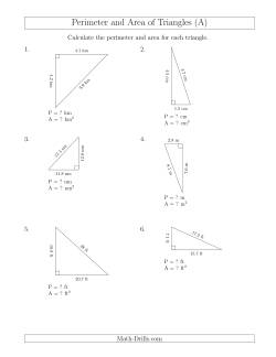 Calculating the Perimeter and Area of Right Triangles (Rotated Triangles)