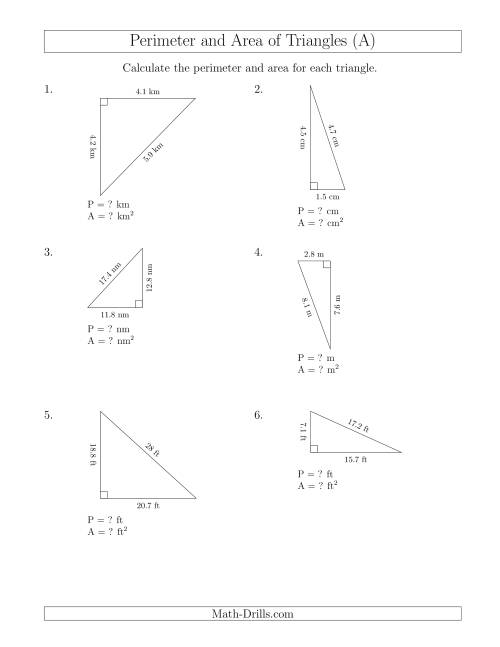 The Calculating the Perimeter and Area of Right Triangles (Rotated Triangles) (A) Math Worksheet