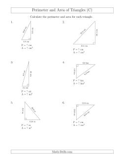 calculating the perimeter and area of right triangles rotated triangles c measurement worksheet. Black Bedroom Furniture Sets. Home Design Ideas