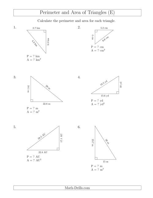The Calculating the Perimeter and Area of Right Triangles (Rotated Triangles) (E) Math Worksheet