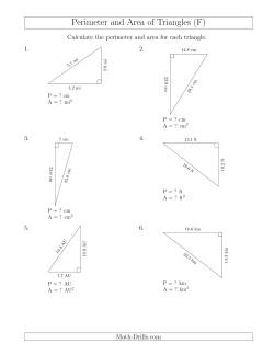 calculating the perimeter and area of right triangles rotated triangles f measurement worksheet. Black Bedroom Furniture Sets. Home Design Ideas