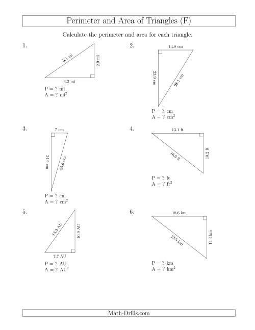 The Calculating the Perimeter and Area of Right Triangles (Rotated Triangles) (F) Math Worksheet