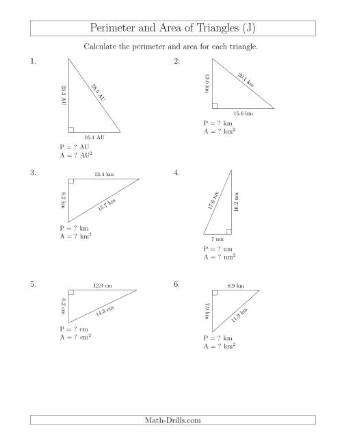 The Calculating the Perimeter and Area of Right Triangles (Rotated Triangles) (J) Math Worksheet