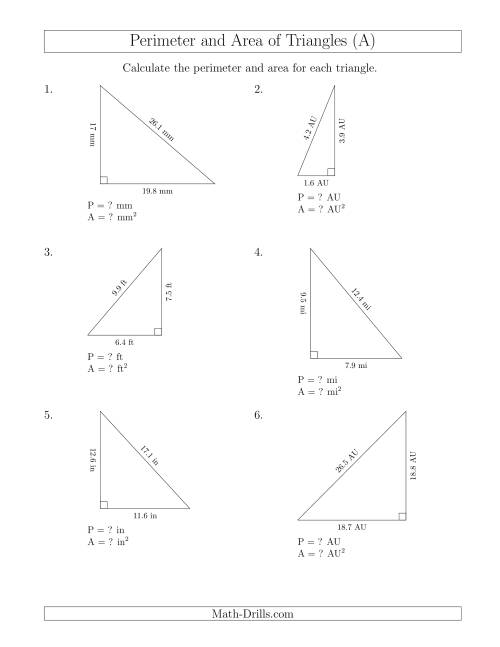 The Calculating the Perimeter and Area of Right Triangles (A) Math Worksheet