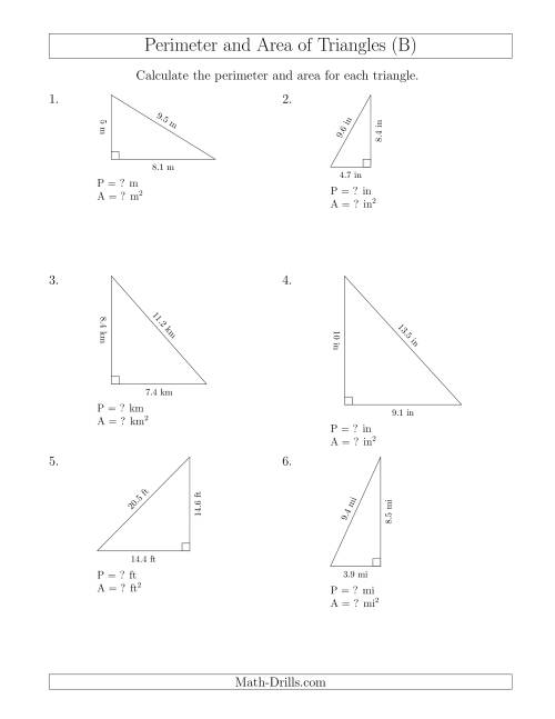 The Calculating the Perimeter and Area of Right Triangles (B) Math Worksheet