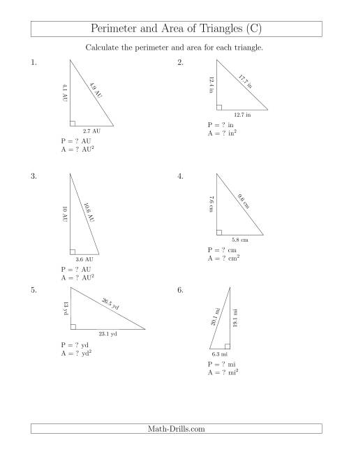 The Calculating the Perimeter and Area of Right Triangles (C) Math Worksheet