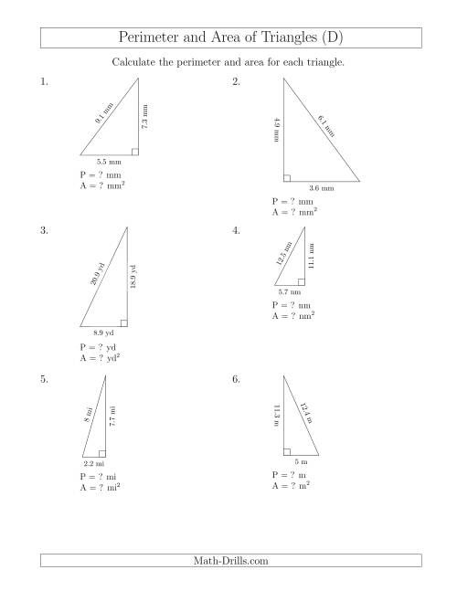 The Calculating the Perimeter and Area of Right Triangles (D) Math Worksheet
