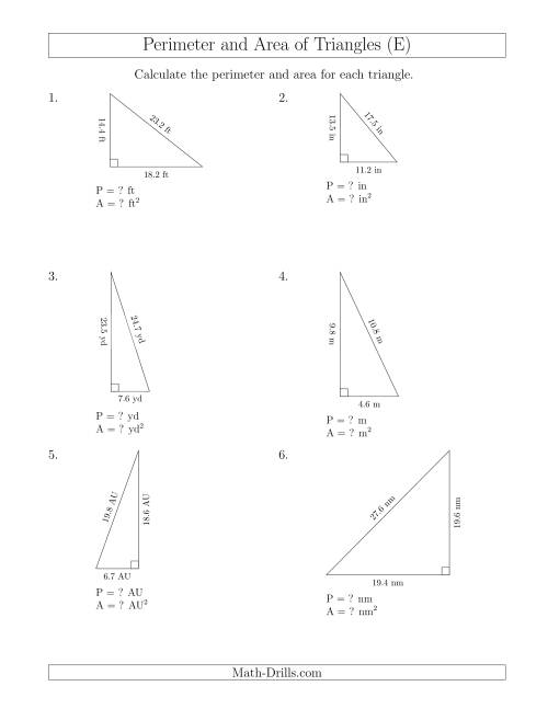 The Calculating the Perimeter and Area of Right Triangles (E) Math Worksheet