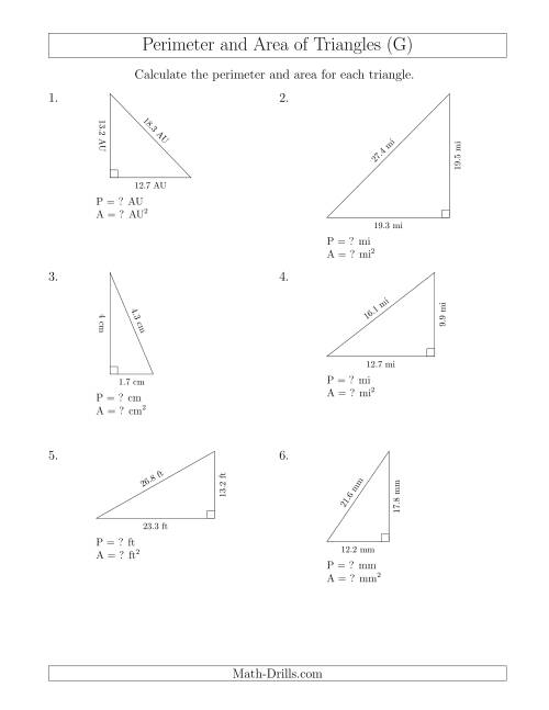The Calculating the Perimeter and Area of Right Triangles (G) Math Worksheet