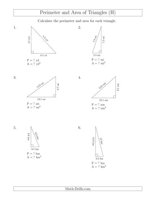 The Calculating the Perimeter and Area of Right Triangles (H) Math Worksheet