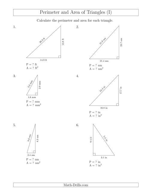 The Calculating the Perimeter and Area of Right Triangles (I) Math Worksheet