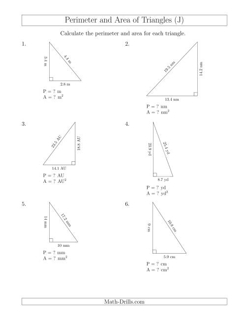 The Calculating the Perimeter and Area of Right Triangles (J) Math Worksheet