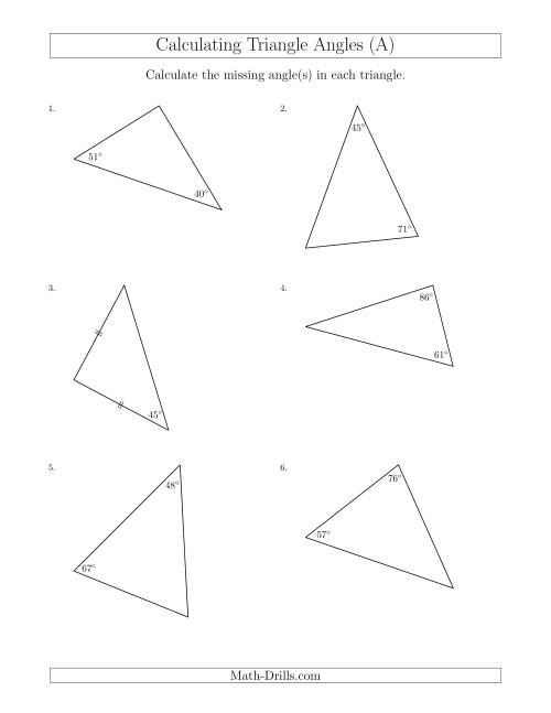 The Calculating Angles of a Triangle Given the Other Angle(s) (A) Math Worksheet