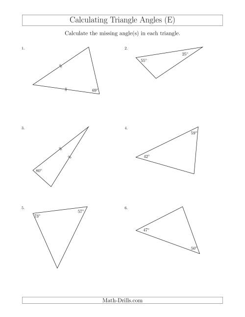 The Calculating Angles of a Triangle Given the Other Angle(s) (E) Math Worksheet