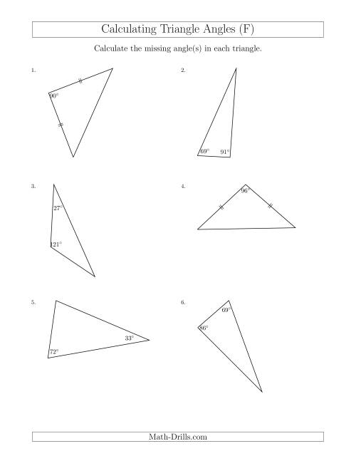 The Calculating Angles of a Triangle Given the Other Angle(s) (F) Math Worksheet
