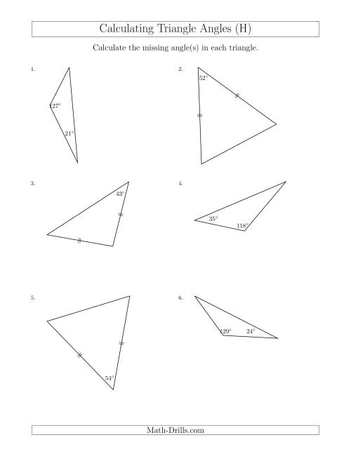 The Calculating Angles of a Triangle Given the Other Angle(s) (H) Math Worksheet