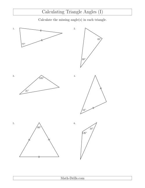 The Calculating Angles of a Triangle Given the Other Angle(s) (I) Math Worksheet