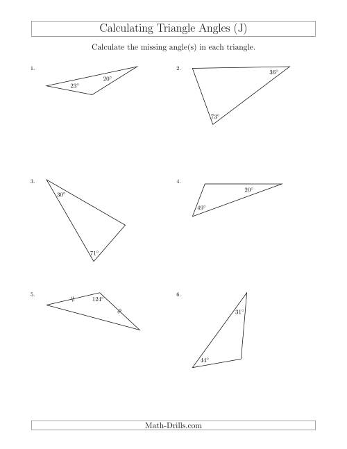 The Calculating Angles of a Triangle Given the Other Angle(s) (J) Math Worksheet