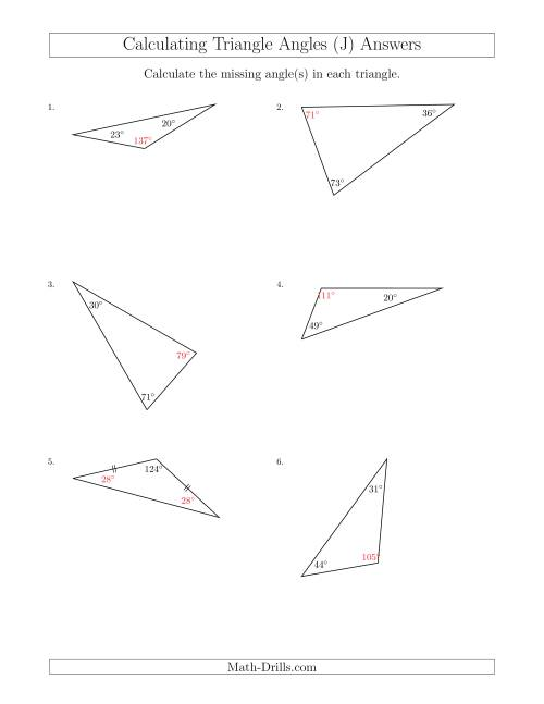 The Calculating Angles of a Triangle Given the Other Angle(s) (J) Math Worksheet Page 2
