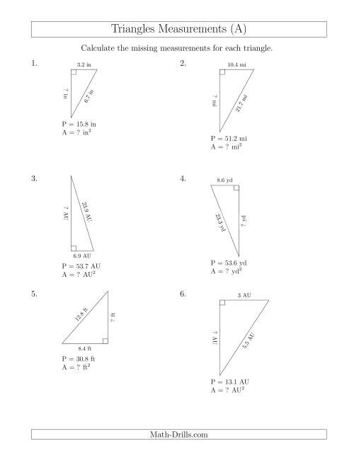 The Calculating the Area and Height of Right Triangles (A) Math Worksheet
